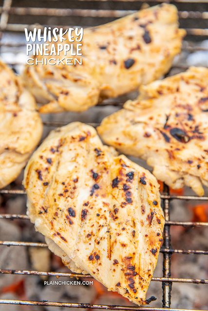 Whiskey Pineapple Chicken - delicious!!! Chicken marinated in whiskey, pineapple juice, BBQ sauce, Worcestershire, garlic and pepper. Let the chicken marinate at least 24 hours for the best flavor. Can marinate for 2 days if you have the time! Brush cooked chicken with a little extra BBQ sauce. Everyone LOVED this grilled chicken!!! #grill #chicken #grilledchicken #grilling