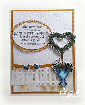 Our Daily Bread Designs Stamp Set: Happy Wedding Day, Paper Collection: Wedding Wishes, Custom Dies: Scalloped Chain, Heart Topiary, Ovals, Layered Lacey Ovals, Pierced Rectangles, Leafy Edged Border, Fence