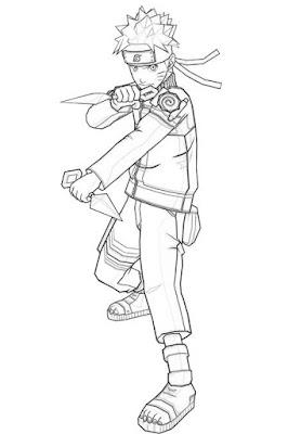 Lembar Mewarnai Sketsa dan Gambar Ilustrasi Naruto Uzumaki