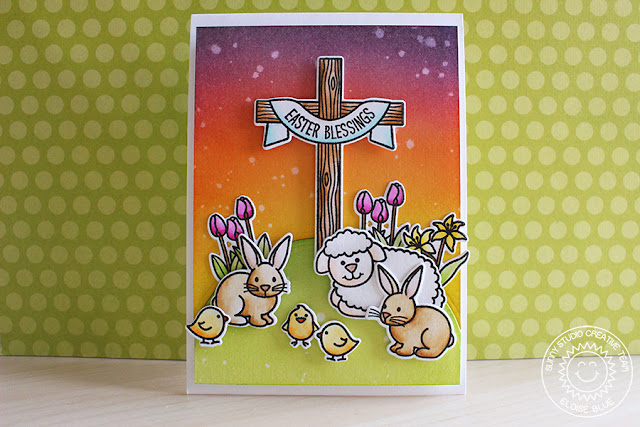 Sunny Studio Stamps: Easter Wishes Easter Blessing Critter Card by Eloise Blue