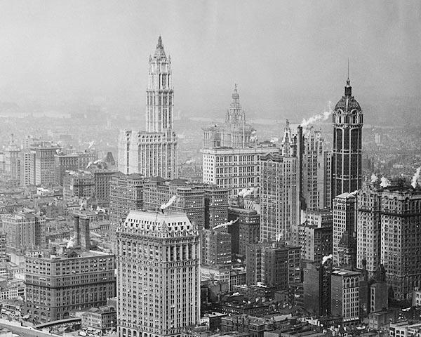panoramica de Nueva York con el edificio Singer