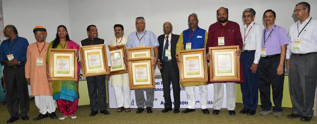 Sansad Ratna Awardees 2016 - L to R - Prime Point Srinivasan, Arjun Ram Meghwal, Dr Heena Gavit, Shrirang Appa Barne, Rajeev Satav, P P Chaudhary, Dr C Rangarajan, Shivaji Adhalrao Patil, P Rajeev, Dr Bhaskar Ramamurthy, Bhawanesh Deora, Dr Sudarshan Padmanabhan