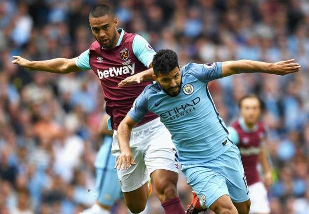 Sergio Aguero in action against West Ham