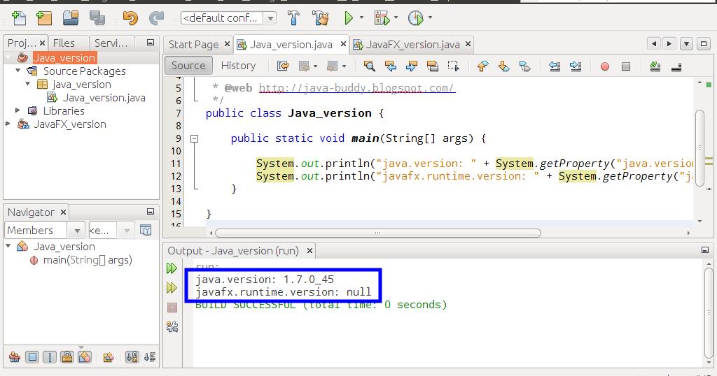 Java-Buddy: Check running Java and JavaFX version using Java code at