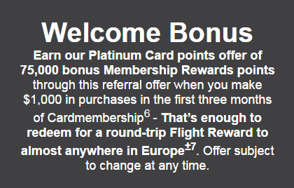 Canadian Rewards: AmEx Platinum: 75000 MR points through