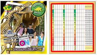 Dinosaur Valley Mini Golf scorecard. Photo courtesy of Josee Rainville at Dinosaur Valley Mini Golf