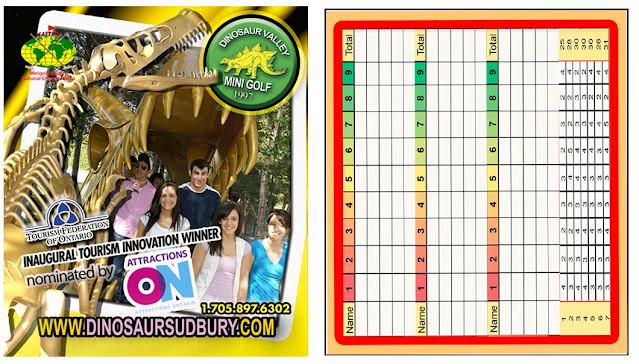 Dinosaur Valley Mini Golf scorecard. Photo courtesy of Josee Rainville at Dinosaur Valley Mini Golf