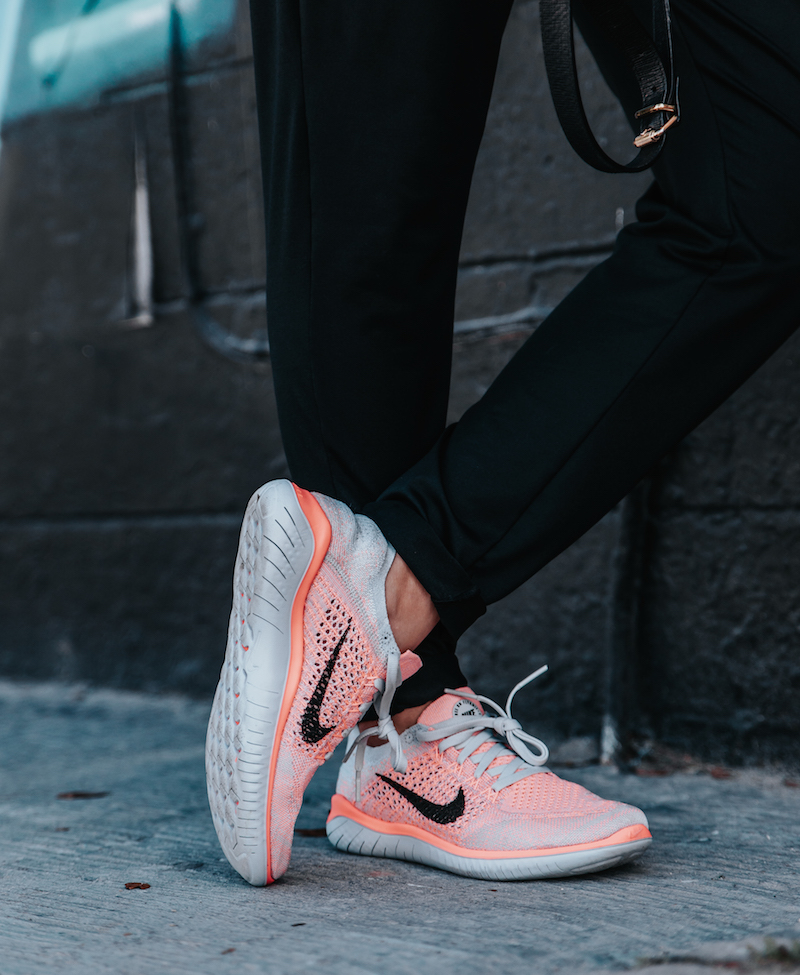 GET THE LOOK NIKE Free Flyknit 2018 sneakers in Crimson NIKE Dance Joggers  (similar here and here) NIKE Floral Womens top in black floral (also, ...