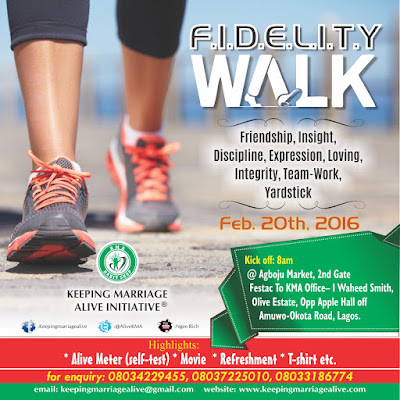 Keeping Marriages Alive walk for FIDELITY