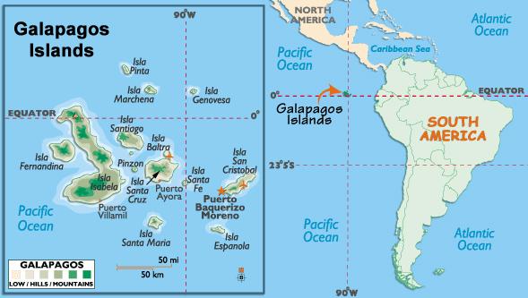 galapagos ecuador map