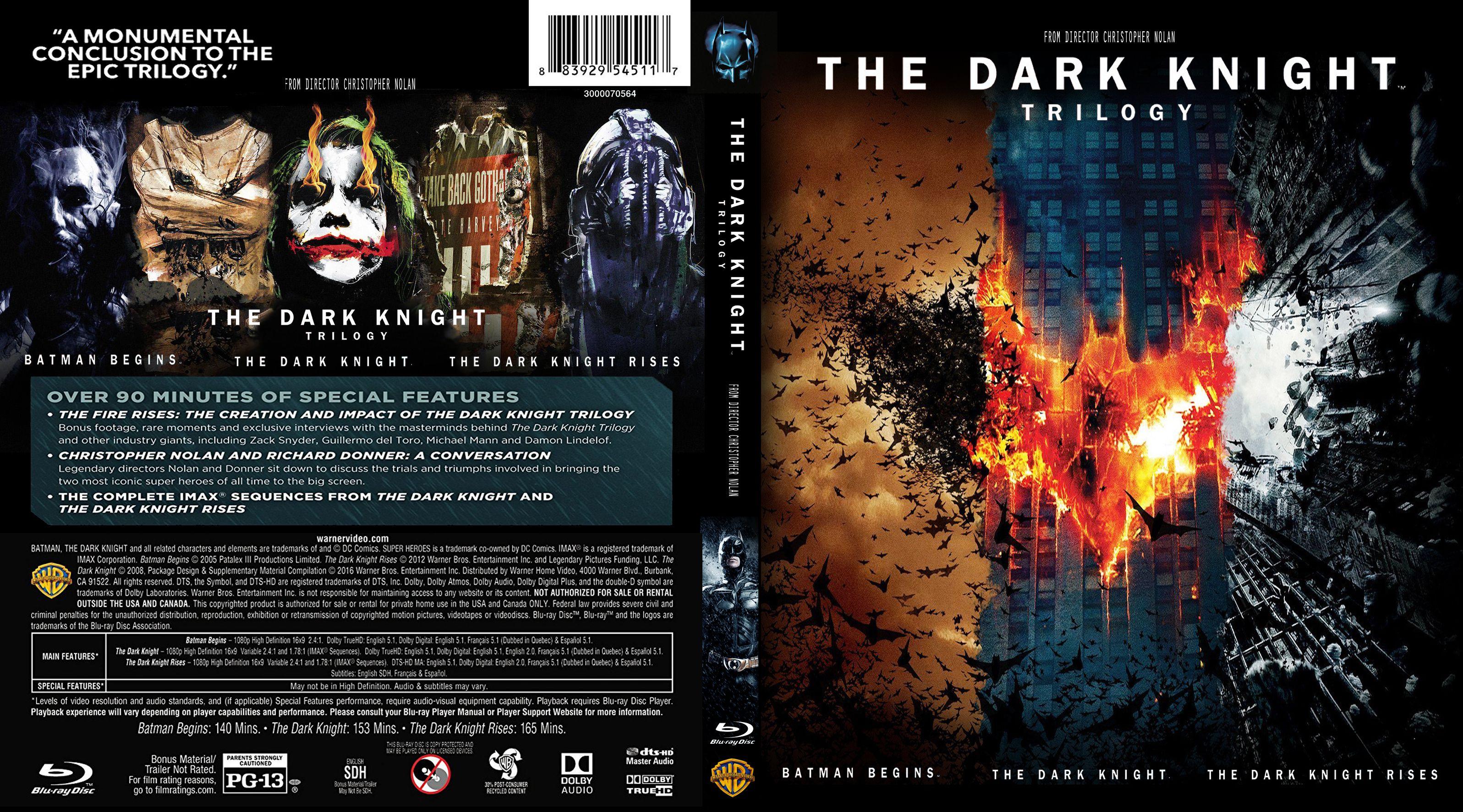 the dark knight trilogy bluray cover - cover addict