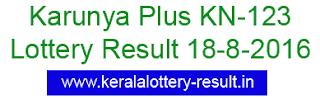 Karunya Plus KN 123 lottery result, Kerala lottery result 18-8-2016, Kerala Karunya Plus KN123, lottery result 18/8/2016 today karunya plus kn-123, today's Karunya Plus Kn 123 lottery result 18-08/2016