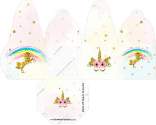 Caja para cupcakes, chocoltes o golosinas de Fiesta de Unicornios.