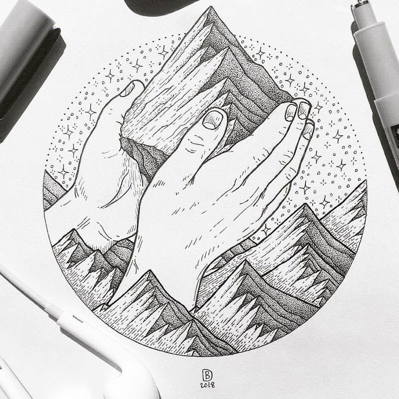 07-Faith-Moves-Mountains-Dylan-Brady-Stippling-Drawings-in-Ink-www-designstack-co