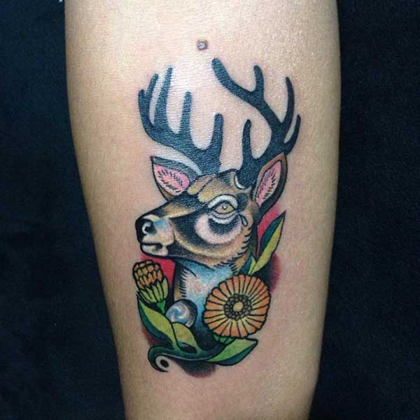 deer tattoo colorful