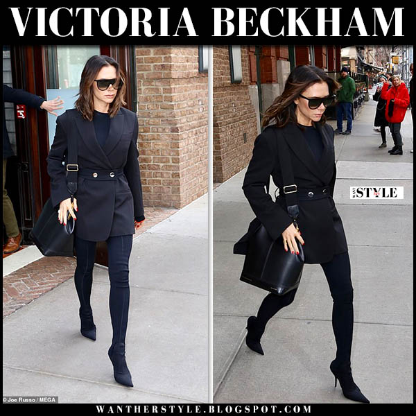 Victoria Beckham in black belted blazer, black leggings and point toe balenciaga sock boots winter street style november 29