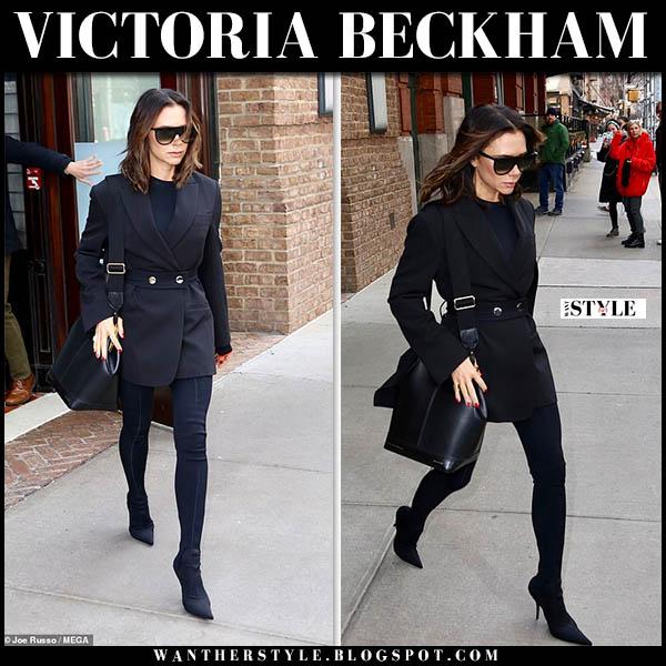 Victoria Beckham in black belted blazer, black leggings and point toe balenciaga sock boots winter street style november 29