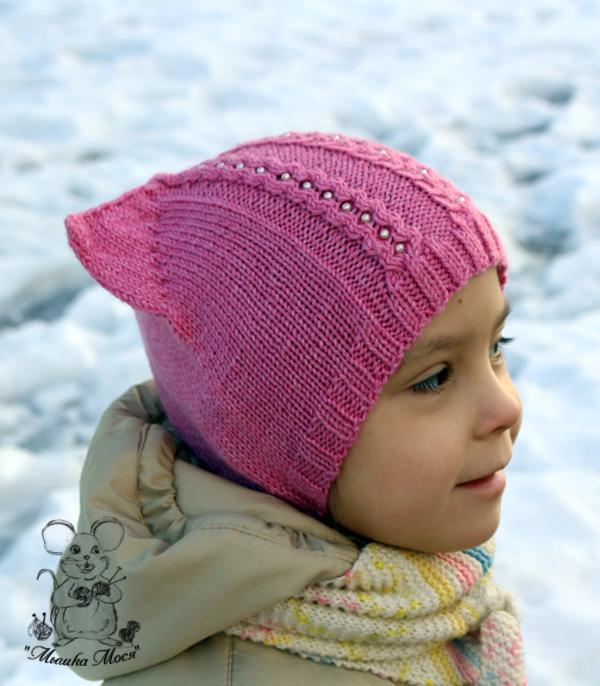 вязаная шапка, розовая шапуля для девочки, шапочка из rowan