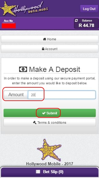 Enter Deposit Amount and click Submit - Hollywoodbets Mobisite - Make a Deposit
