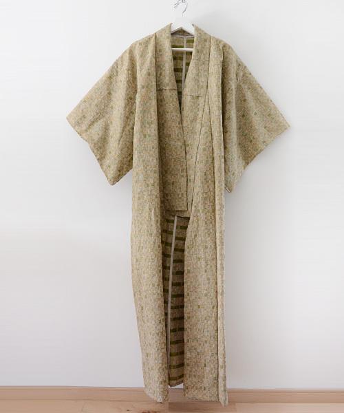 着物 コート ジャパンヴィンテージ 60年代 アンティーク 格子 FUNS Kimono Coat Japanese Vintage 60s Antique Mix Color