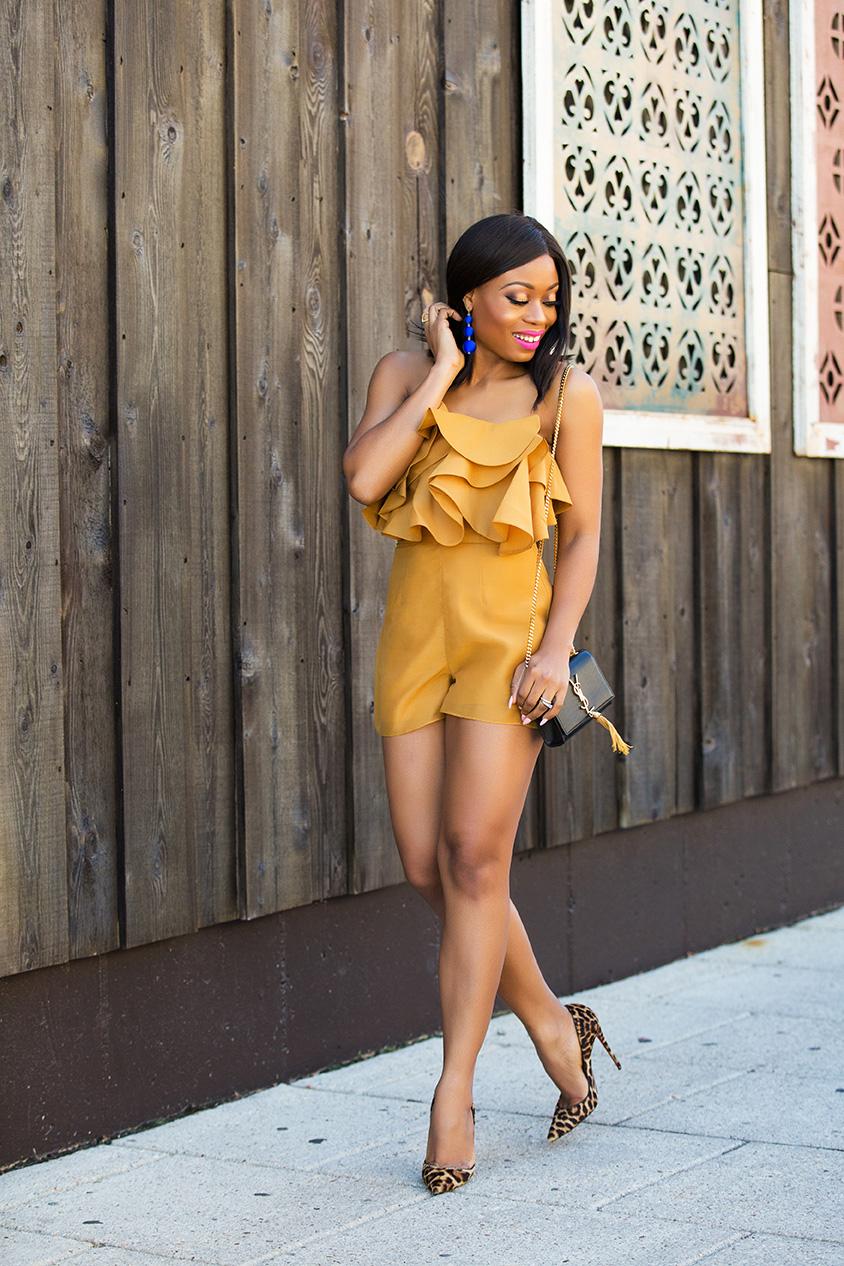 Keepsake lost lover romper, leopard pumps, www.jadore-fashion.com