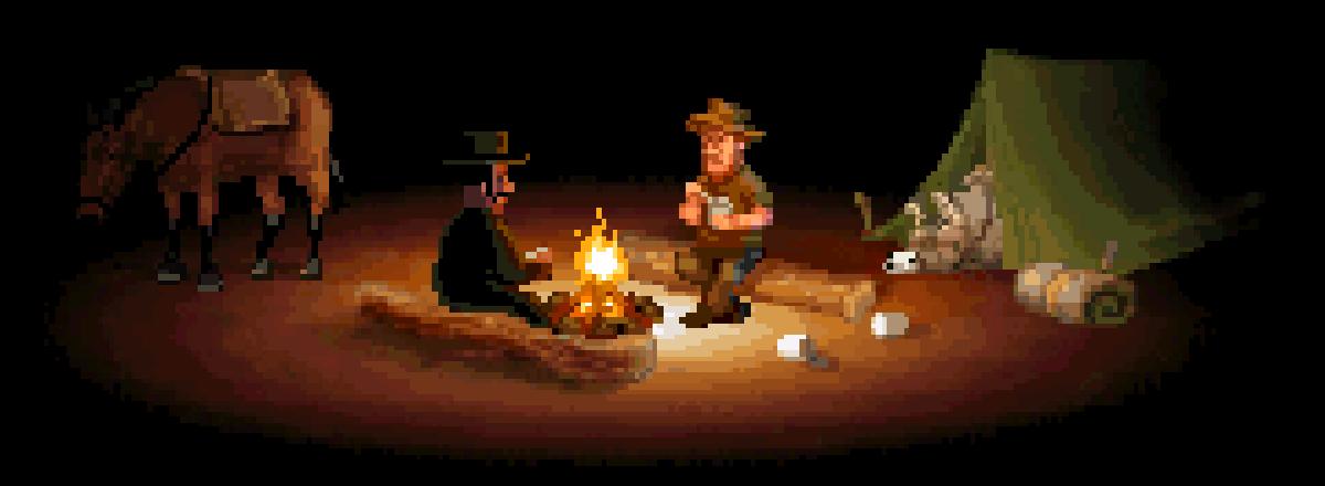 Escena del Oeste. Dos hombres y una mula alrededor de una hoguera.