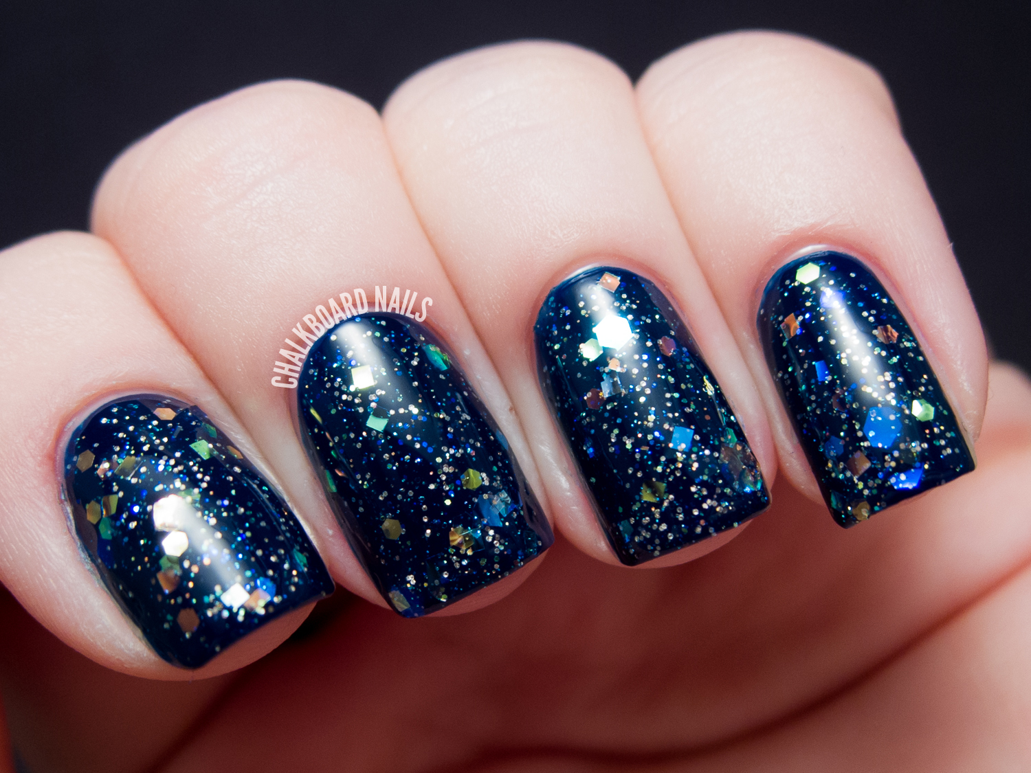 Chalkboard Nails: Starrily Diamond Dusted