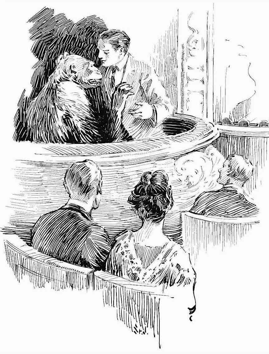 a J. Allen St. John illustration of Tarzan's Lord Greystoke with his ape girl in a theater