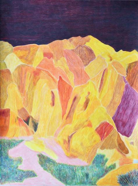 "Arte, dibujo por Ross Taylor, ""Pink Cliffs"", 2017, pencil on paper."