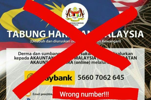 nombor akaun palsu tabung harapan malaysia