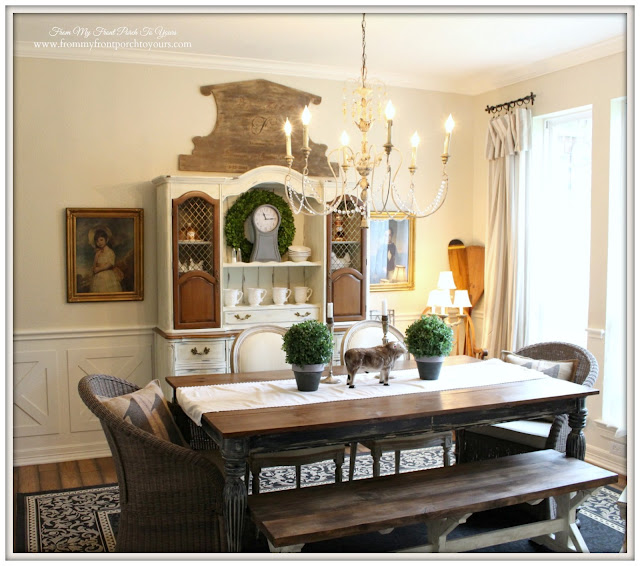 Farmhouse-Planked Table-French Chandleier-French Country Dining Room- From My Front Porch To Yours