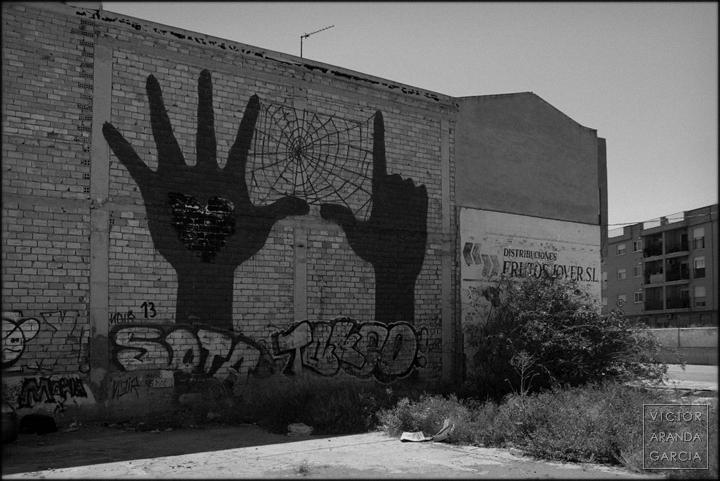 Murcia, fotografia, grafiti, telaraña, limites