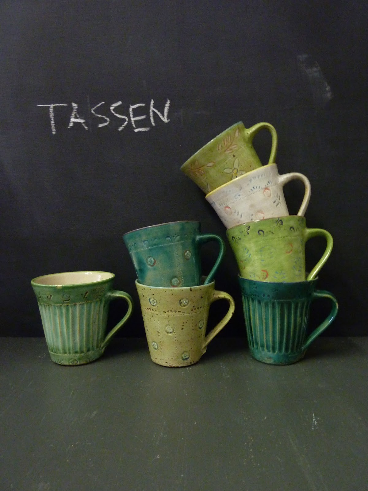 Keramik Steingut Handgefertigte Keramik Steingut 4 Stück Gedeck In