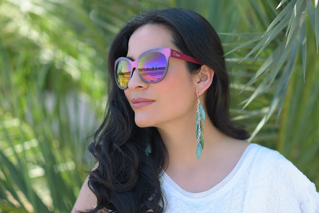 Joanna Joy A Stylish Love Story Blog petite fashion blogger lifestyle blogger Califoria fashion blogger boho chic global chic global fashion pink Dior cat eye glasses green shell earrings
