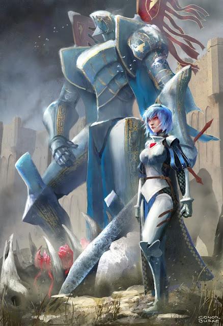 Rei Ayanami e seu EVA (Evangelion), por Conor Burker