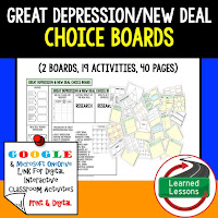 American History Digital Learning, American History Google, American History Choice Boards, Great Depression