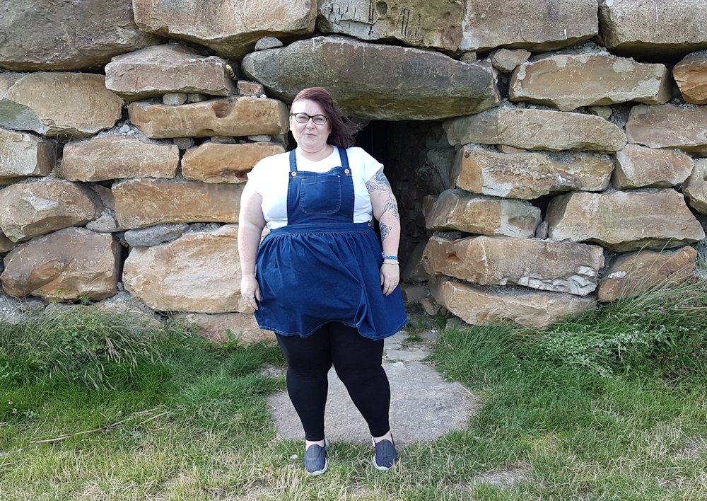 Simply Be plus size Sprinkle of Glitter denim dungaree dress