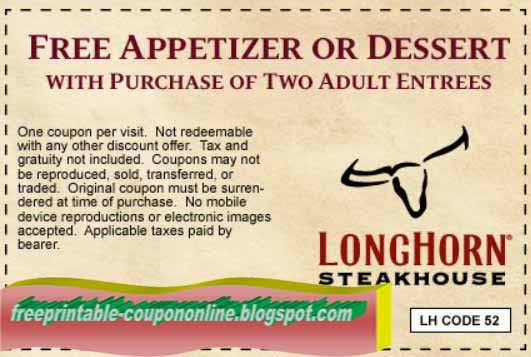 photograph regarding Longhorns Printable Coupons named Printable Coupon codes 2019: Longhorn Steakhouse Discount codes