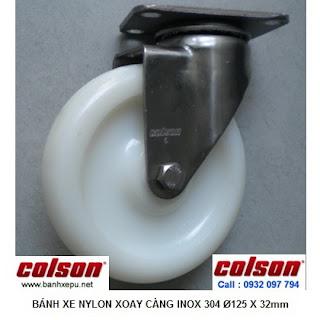 Bánh xe đẩy càng inox 304 Nylon 6 xoay phi 125 Colson | 2-5456-254 www.banhxepu.net