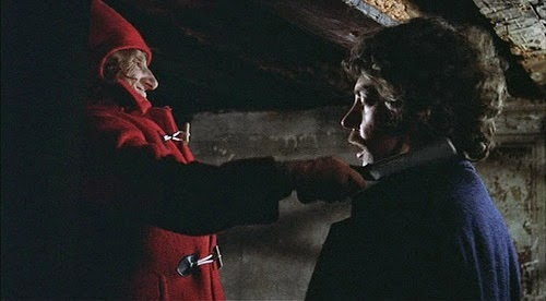 A Still from Don't Look Now, the mysterious old woman stalks John, Directed by Nicholas Roeg