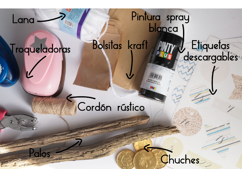Tutoríal calendario de adviento y descargable de etiquetas diseño by Habitan2 | Calendario de adviento de estilo nórdico con materiales reciclados