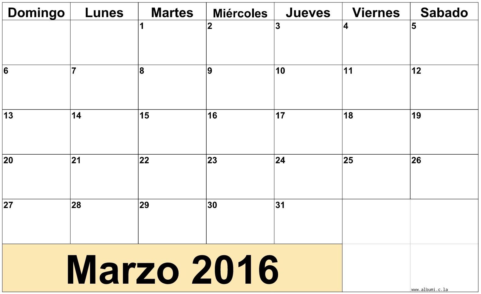 Calendario Mensual Março 2016 para imprimir gratis