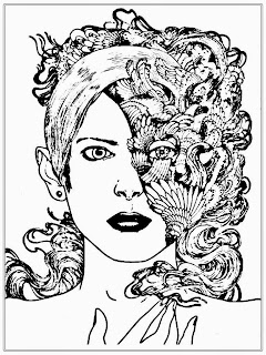 Half Women Faces Coloring Pages For Adult
