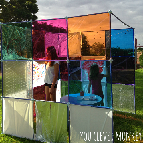 Sensory Fort - a perfect invitation to play. Our part of Building Blocks and Acorns Fort Building Challenge. Visit www.youclevermonkey.com for more information.