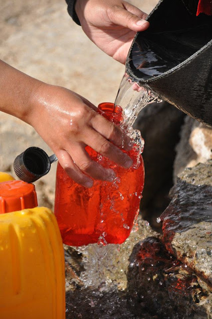Collecting water from a Mongolian well
