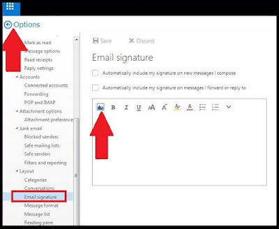 Add an image in hotmail signature