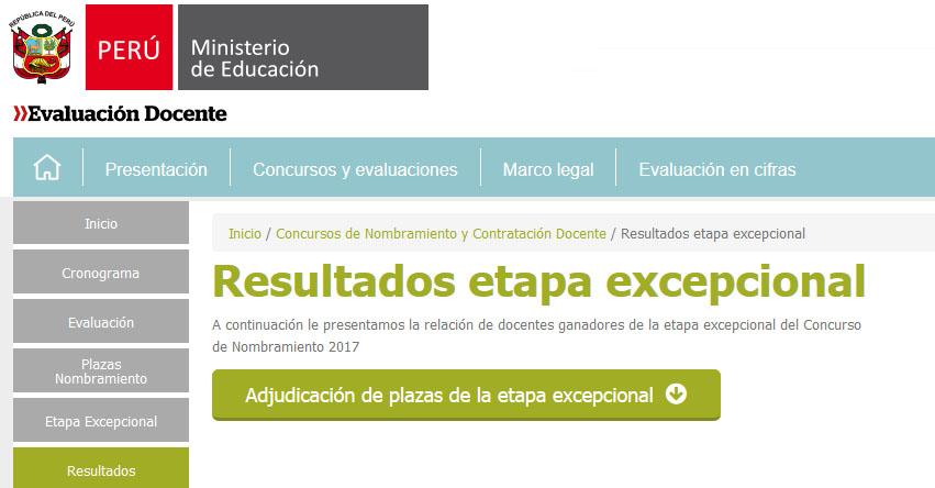 RESULTADOS NOMBRAMIENTO DOCENTE: Relación de docentes ganadores etapa excepcional Concurso de Nombramiento 2017 - MINEDU - www.minedu.gob.pe