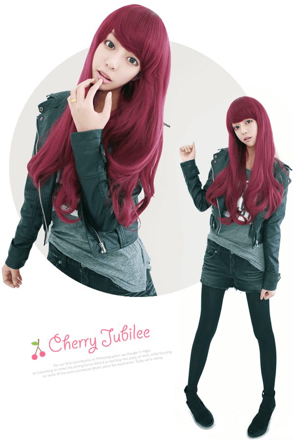 Korean Fashion Beauty Wig - Cherries Jubilee Color Sweet Red Wine Model 2