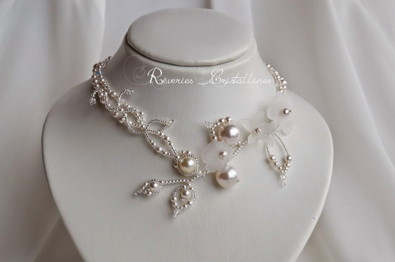 bijou mariée blanc en perles