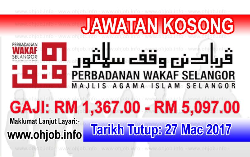 Jawatan Kerja Kosong Perbadanan Wakaf Selangor logo www.ohjob.info mac 2017